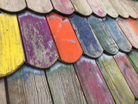 colorful roof tiles,  closeup of playground house roof