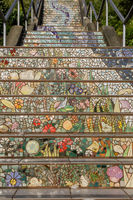 San Francisco, California - April 20 2019: The 16th Avenue Tiled Steps Project.
