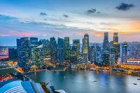 Skyline Singapore Downtown at night