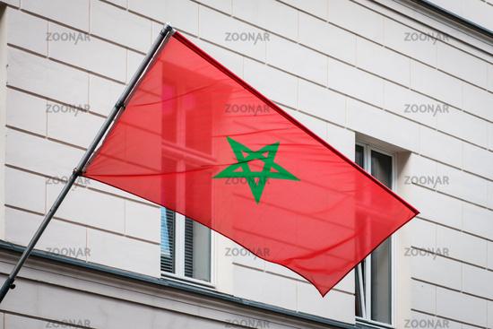 moroccan flag on pole on building - morocco flag -