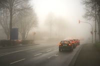 Passenger cars stop in the fog in front of a red traffic light at an intersection.