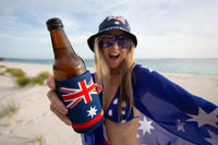 Woman celebrate Australia Day with beer