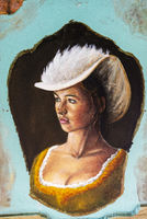 young woman with hat, painted front door, Funchal, Madeira, Portugal, Europe