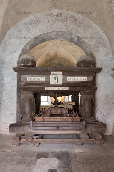 old grape press in the eberbach monastery near eltville germany