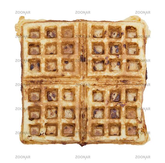 Homemade square belgian waffle on white background