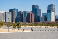 TOKYO, JAPAN - 14 FEB 2018: Chiyoda skyline and trees from Imperial palace park at daytime