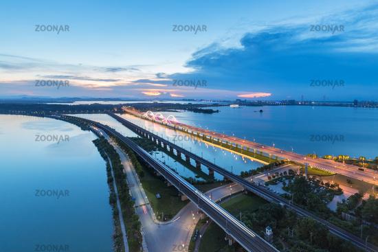 road bridge and railway to city