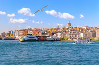 Karakoy district with famous Galata Tower of Istanbul, Turkey