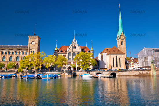Zurich waterfront landmarks and church colorful view, Limmat river