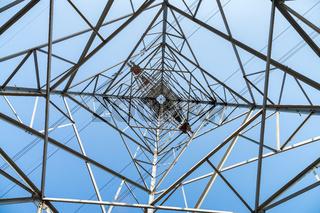 upward view of electricity pylon