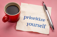 prioritize yourself advice on napkin