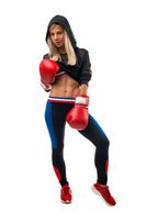 Blonde in boxing gloves isolated view