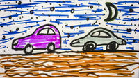 Cars Driving at Nature Cartoon Children Style Drawing