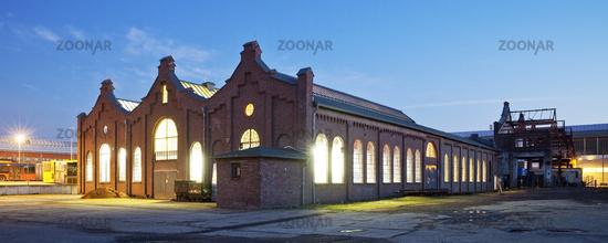 Old turning shop at dusk, Muelheim an der Ruhr, Ruhr Area, North Rhine-Westphalia, Germany, Europe