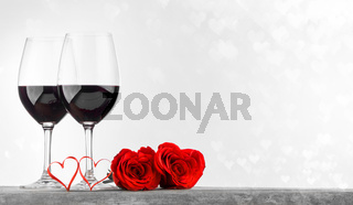 Wine roses and hearts