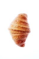 Close up french freshly baked croissant on a white background.