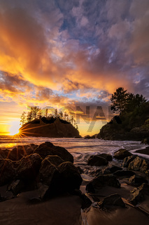 A Dramatic Sunset at the Beach, Color Image