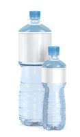 Small and big water bottles on white