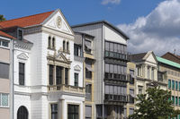 Hanover - City centre, row of houses with historic town villas, Germany