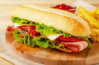 Homemade italian sub sandwich with bacon