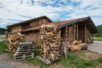 Stacked fire wood in barn