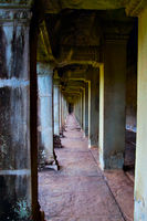 Ancient colonnade in Angkor Wat