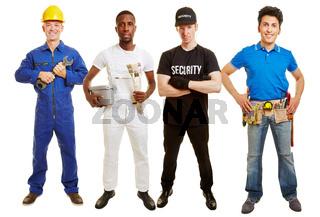 Handwerker als Team einer Baustelle