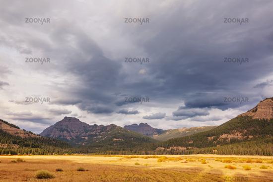 Autumn mountains meadow
