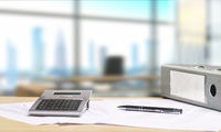 Desk with documents and skyline view