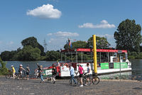 passengers on the passenger ferry on the main river in frankfurt hoechst germany