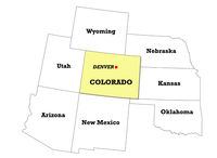 Colorado state map with neighboring states