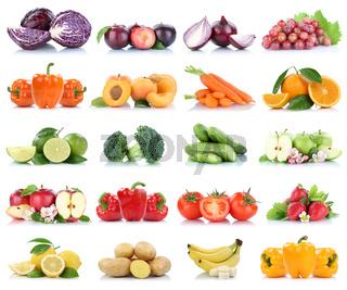 Früchte Obst und Gemüse Sammlung Apfel Tomaten Orange Bananen Weintrauben Farben frische Freisteller freigestellt isoliert