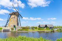 Windmills of Kinderdijk Village in Molenlanden near Rotterdam in Netherlands