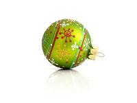 green Christmas glass ball isolated on white background