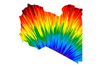 Libya - map is designed rainbow abstract colorful pattern, Federal State of Libya map made of color explosion,