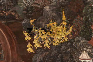 Golden wagon in Wat Phra Kaew mural