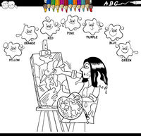 basic colors coloring book with artist painter