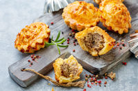 Homemade mini-pies with meat filling.