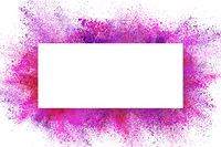 Abstract design of dust explosion frame background. Powder particles sprayed over white backdrop
