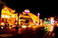 las vegas city streets and lights bokeh defocused effect