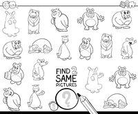 find two same bear characters coloring book