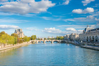 Paris cityscape with view over Seine river