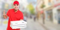 Pizza delivery man boy order delivering job deliver success successful smiling town banner copyspace copy space