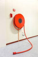 Fire hose in building for fire fighting