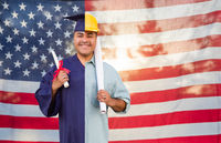 Split Screen Male Hispanic Graduate In Cap and Gown to Engineer in Hard Hat in Front Of American Flag