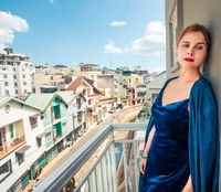 Beautiful woman on a balcony, Dalat
