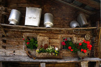 Alpine hut with milk cans, Zillertal, Austria,