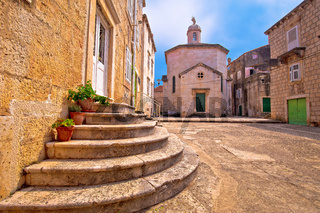 Town of Korcula square stone church and architecture view