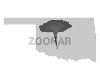 Karte von Oklahoma und Tornadosymbol - Map of Oklahoma and tornado symbol