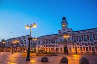 Madrid Spain, night city skyline at Puerta del Sol square